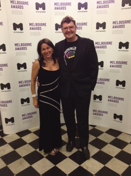 Founder and Chair Tania de Jong AM and Executive Director Ross Maher at the 2014 Melbourne Awards.